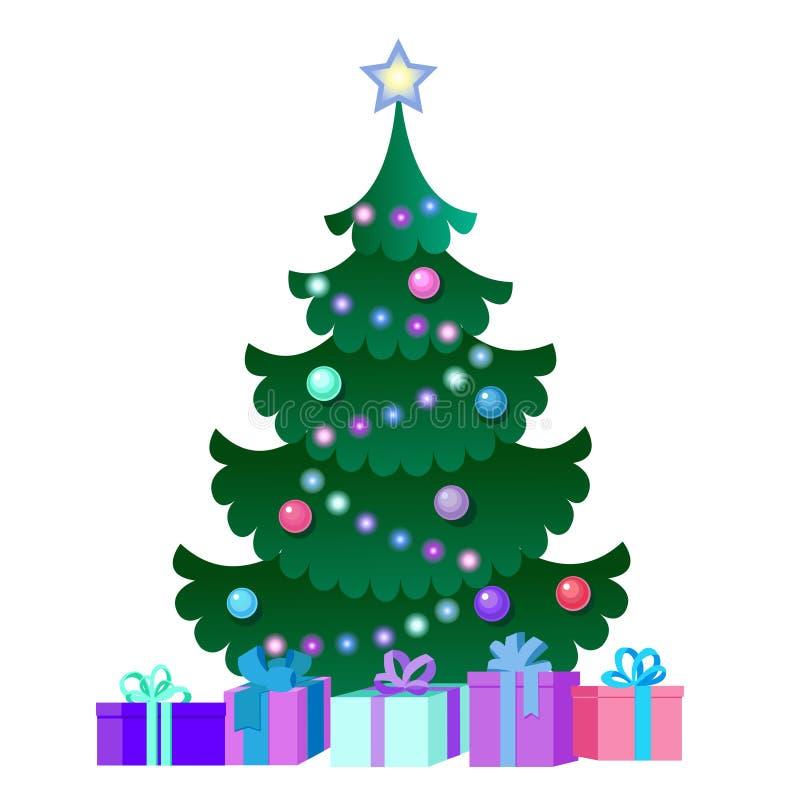 Ilustração com árvore e caixas de presente de Natal ilustração royalty free