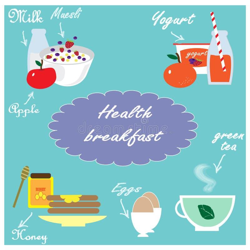 Ilustração com alimento natural para o café da manhã ilustração do vetor