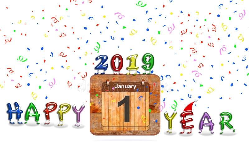 Ilustração com ano novo feliz 2019 imagens de stock