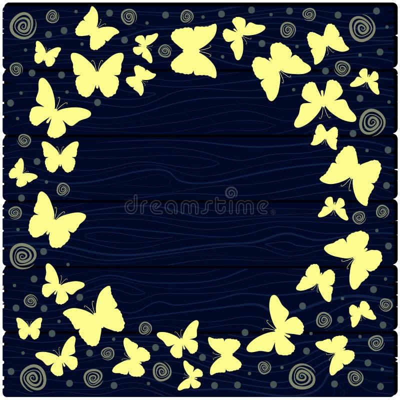 Ilustração com as borboletas coloridas na perspectiva das placas ilustração do vetor
