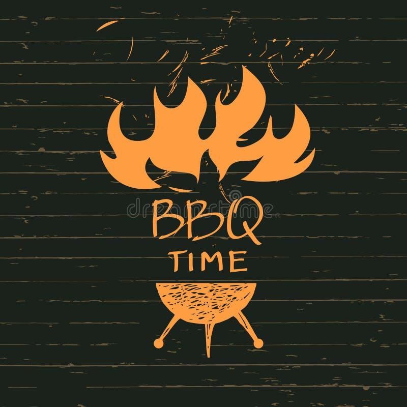 Ilustração com as faíscas do fogo pelo tempo do BBQ Restaurante da cópia ilustração stock