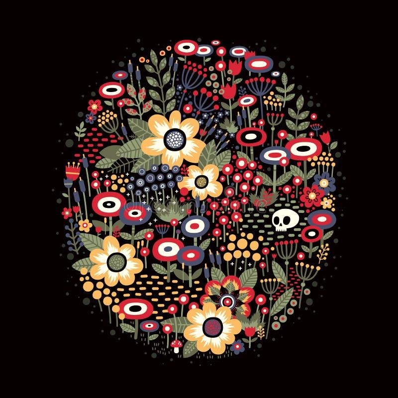 Ilustração com as flores bonitas na forma oval ilustração stock