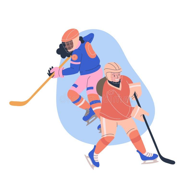 Ilustração com as meninas adolescentes que jogam o jogo de hóquei em gelo ilustração stock