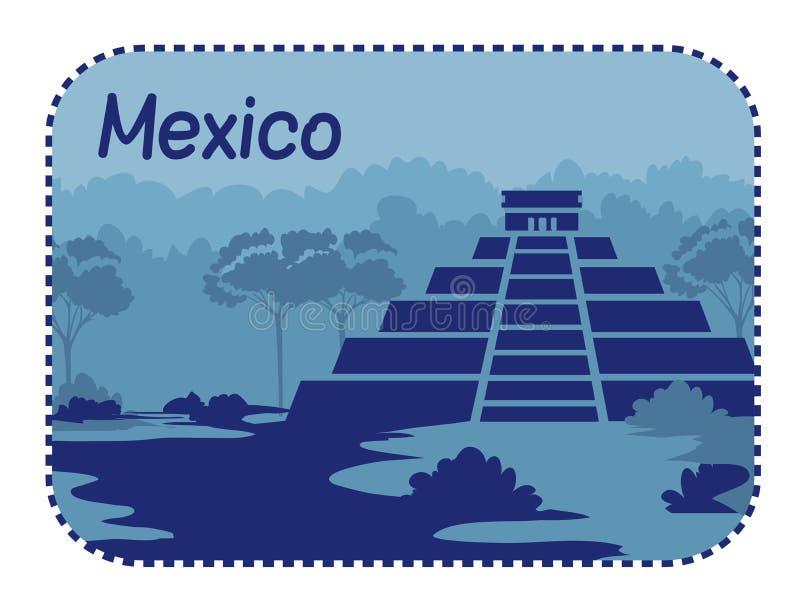 Ilustração com as pirâmides maias em México imagens de stock