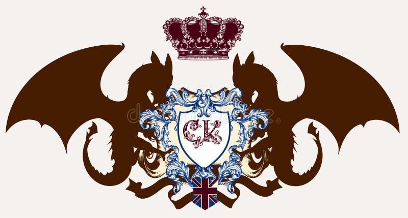 Ilustração com a brasão, crista heráldica e os dragões ideais ilustração royalty free