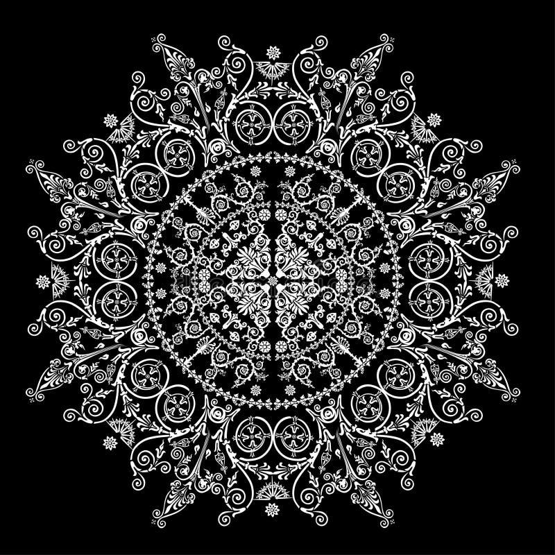 Ilustração com círculo decorado branco ilustração stock