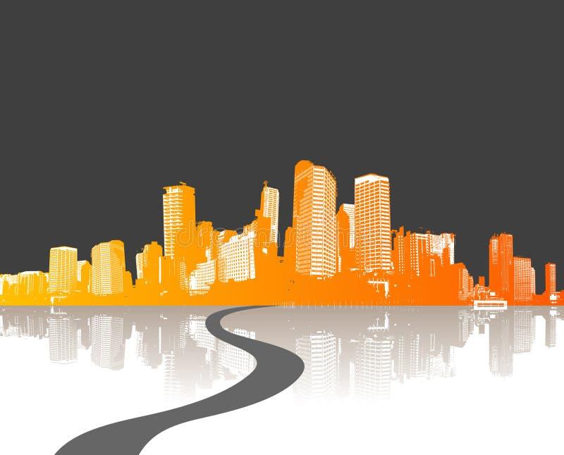 Ilustração com cidade. vetor ilustração do vetor
