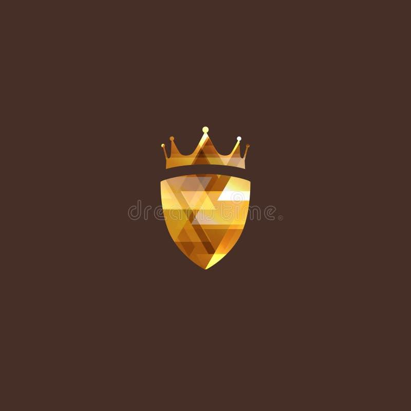 Ilustração com coroa e protetor do diamante ilustração stock