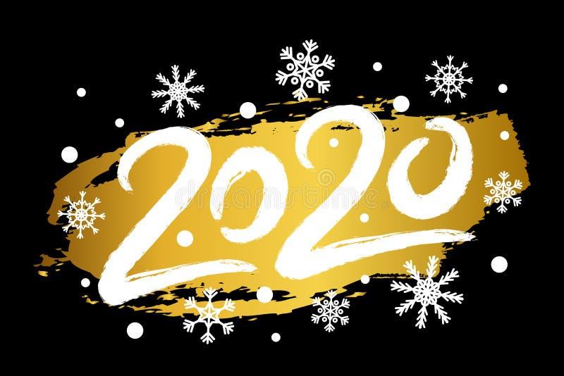 Ilustração com efeito do brilho do ouro, flocos de neve do ano novo feliz do vetor 2020 Cartão criativo, cartaz ilustração stock