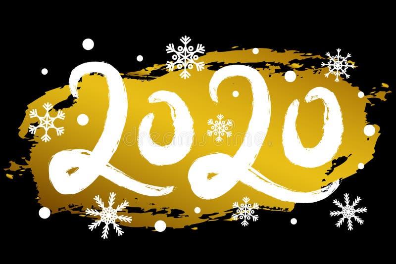 Ilustração com efeito do brilho do ouro, flocos de neve do ano novo feliz do vetor 2020 Cartão criativo, cartaz ilustração do vetor