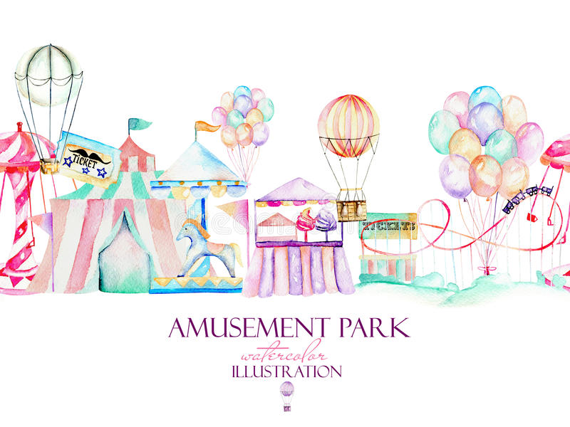 Ilustração com elementos da aquarela do parque de diversões ilustração stock