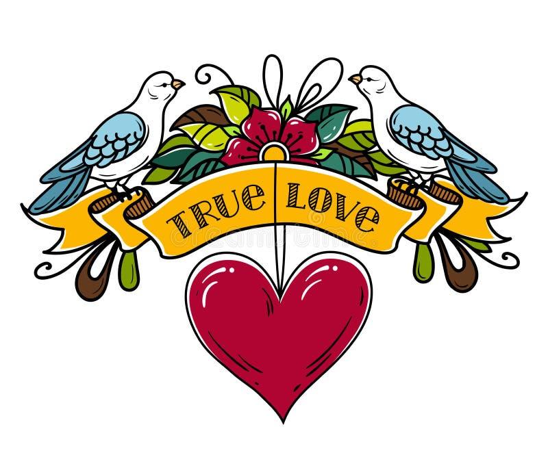 A ilustração com fita decorou flores e o coração vermelho Duas pombas sentam-se na fita Tatuagem do estilo antigo Rotulando o amo ilustração stock