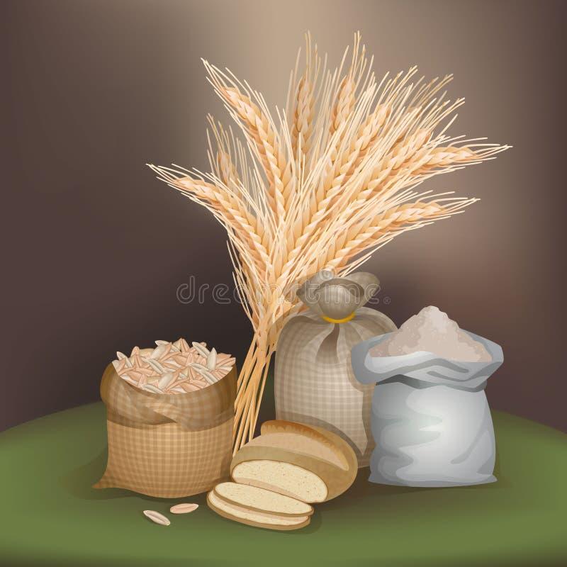 Ilustração com gêneros alimentícios do centeio ilustração royalty free