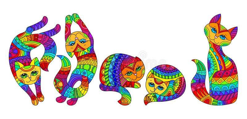 Ilustração com gatos do arco-íris, imagens isoladas do vitral no fundo branco ilustração do vetor