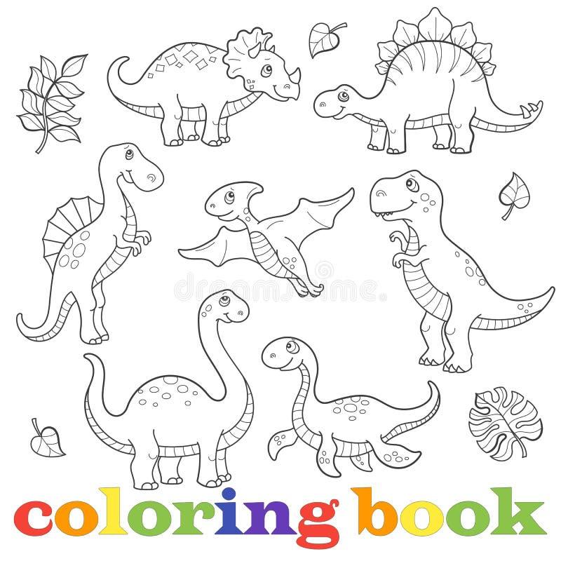 A ilustração com grupo de dinossauros engraçados dos desenhos animados contorna, isolado em um fundo branco, o livro para colorir ilustração stock