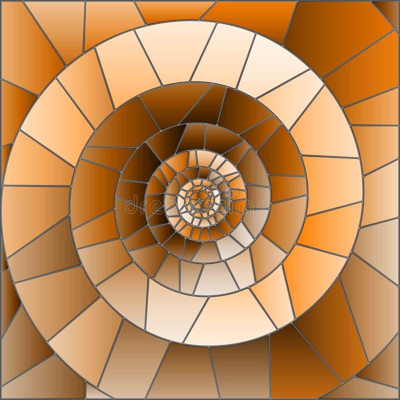 A ilustração com imagem de mosaico abstrata, telhas do vitral arranjou em uma espiral, tom marrom, Sepia ilustração do vetor
