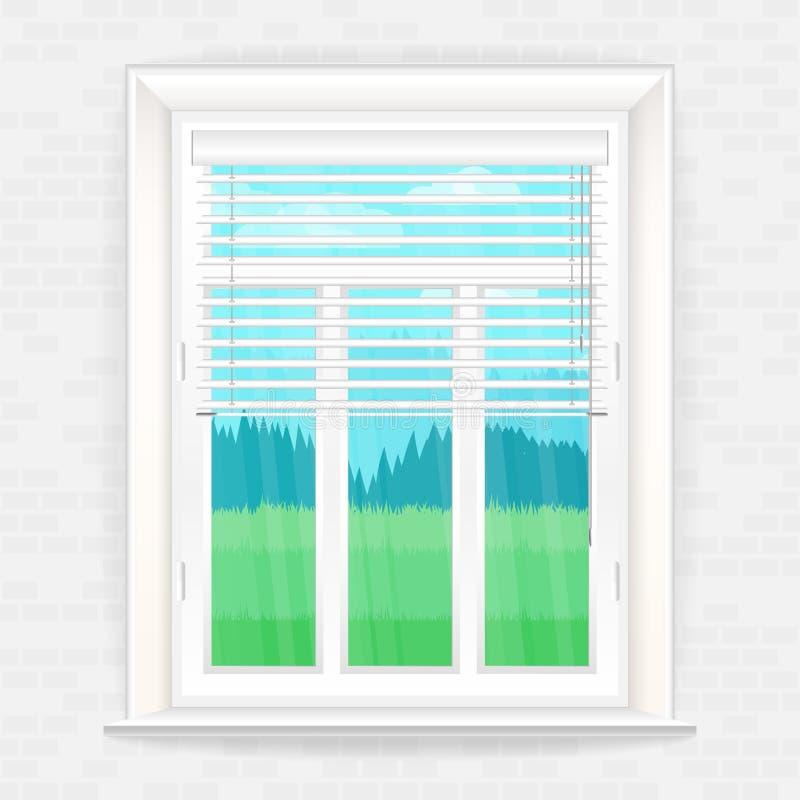 Ilustração com a janela no estilo realístico em uma parede de tijolo e na paisagem rústica fora da janela ilustração stock
