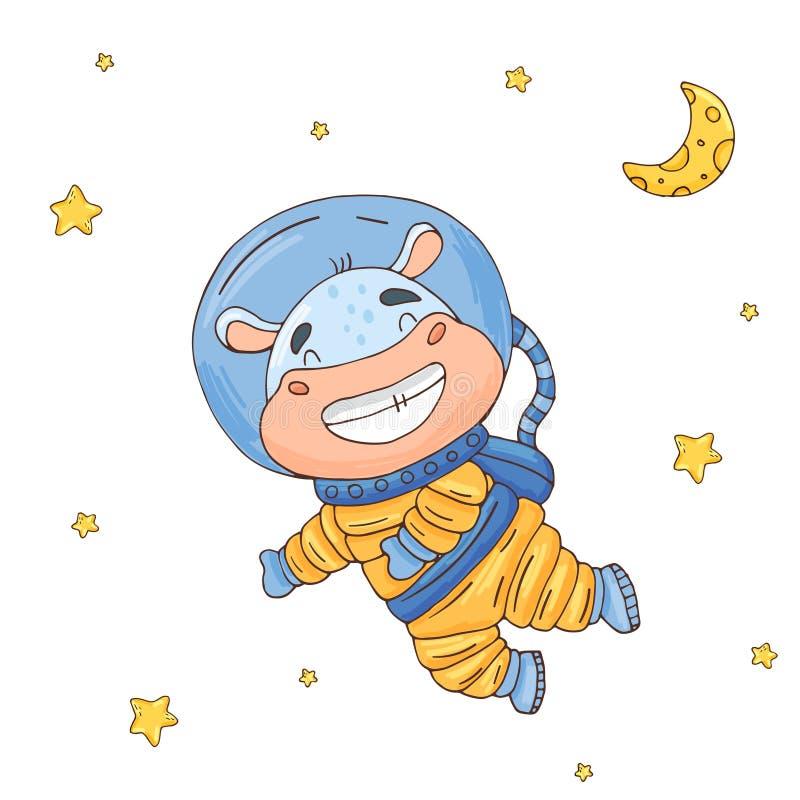 Ilustração com o astronauta bonito dos desenhos animados do hipopótamo no espaço ilustração do vetor