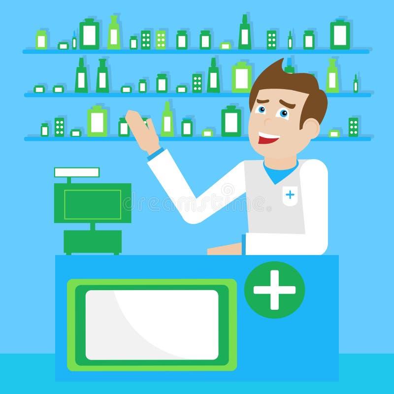 A ilustração com o farmacêutico masculino atrás da farmácia contrária indica o contador ilustração royalty free
