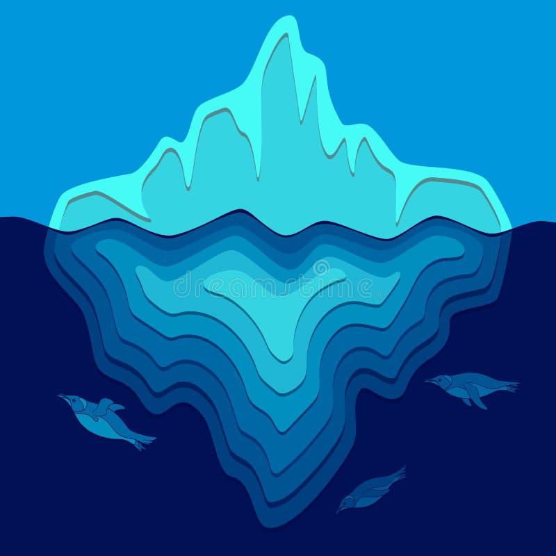 Ilustração com o iceberg e os pinguins que nadam debaixo d'água ilustração do vetor