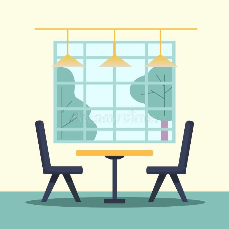 Ilustração com o interior vazio de um café, restaurante do vetor Lugar com janela, as lâmpadas, a tabela e as cadeiras grandes De ilustração stock