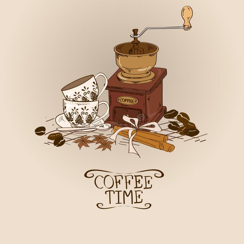 Ilustração com o moedor e os copos de café do vintage ilustração do vetor