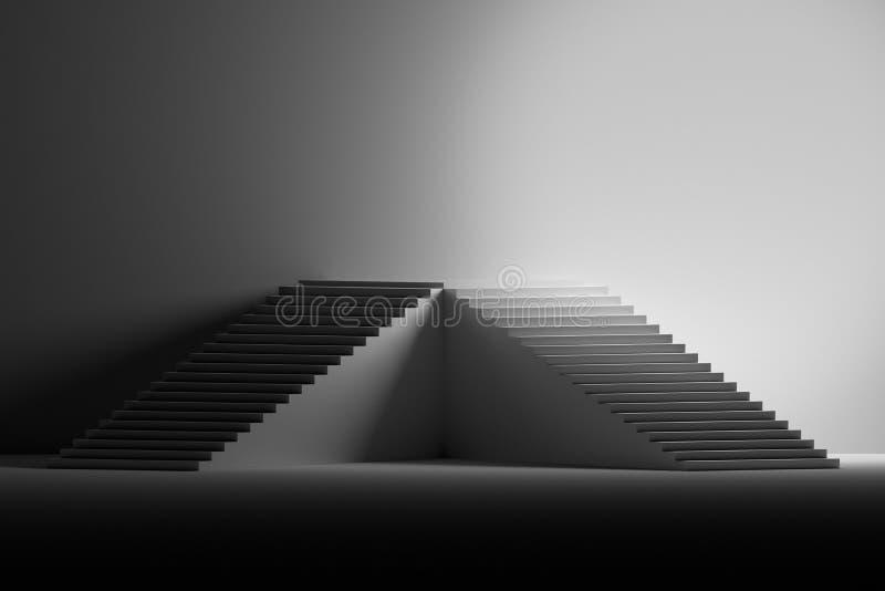 Ilustração com o suporte feito das escadas na cor preto e branco ilustração do vetor