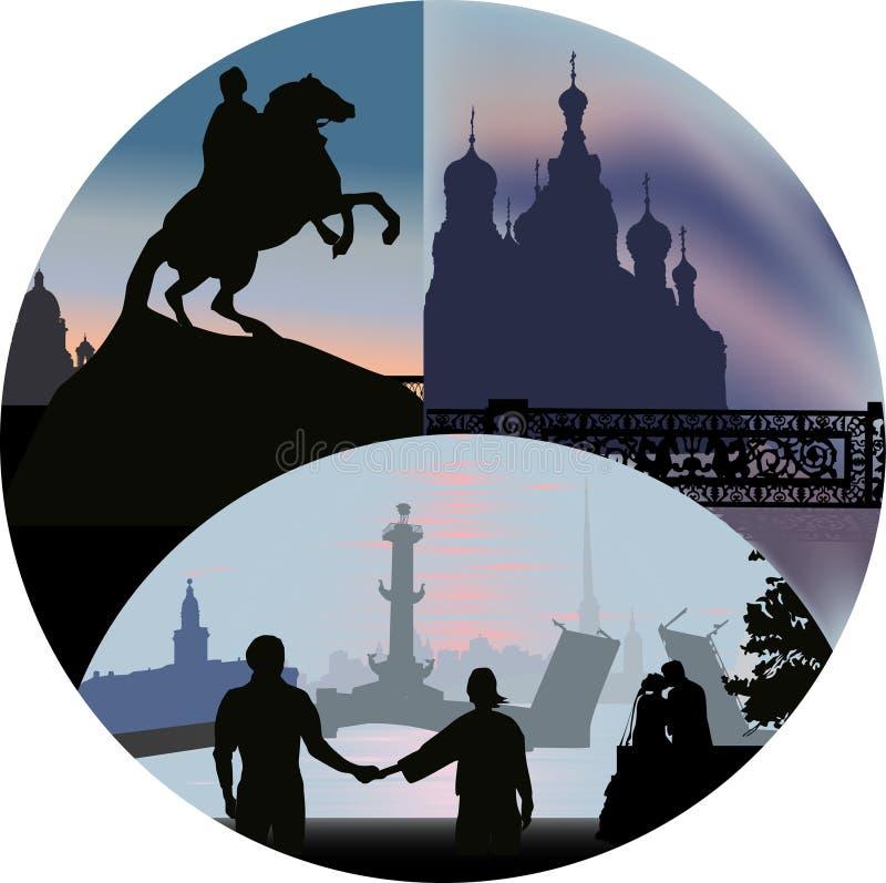 Opiniões de St Petersburg em redondo ilustração royalty free