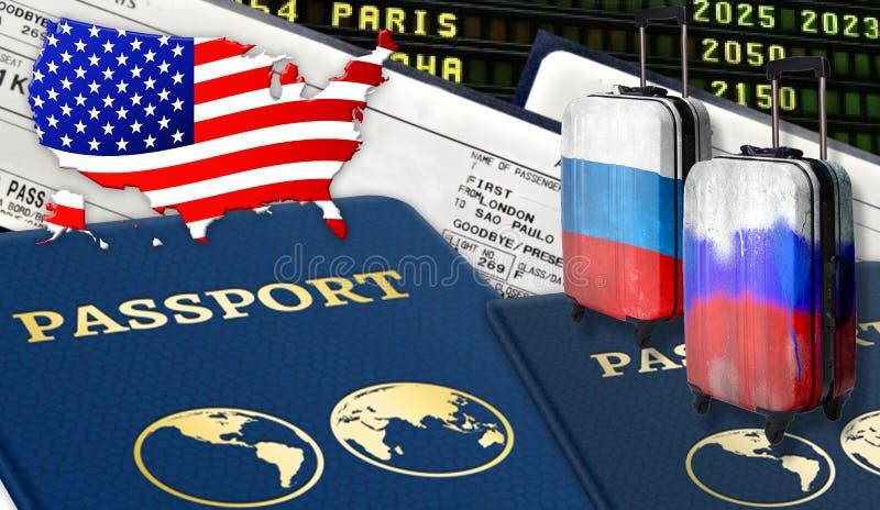 Ilustração com os dois passaportes internacionais, duas malas de viagem com bandeiras do russo, bilhetes e a bandeira dos EUA sob foto de stock royalty free