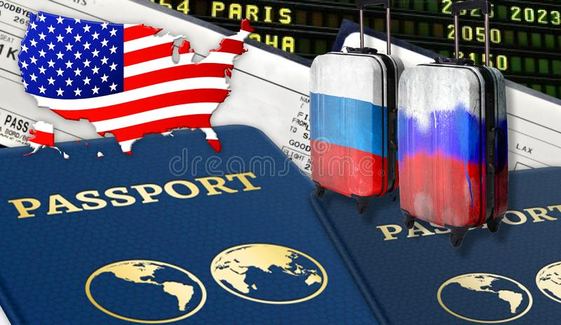 Ilustração com os dois passaportes internacionais, duas malas de viagem com bandeiras do russo, bilhetes e a bandeira dos EUA sob imagem de stock