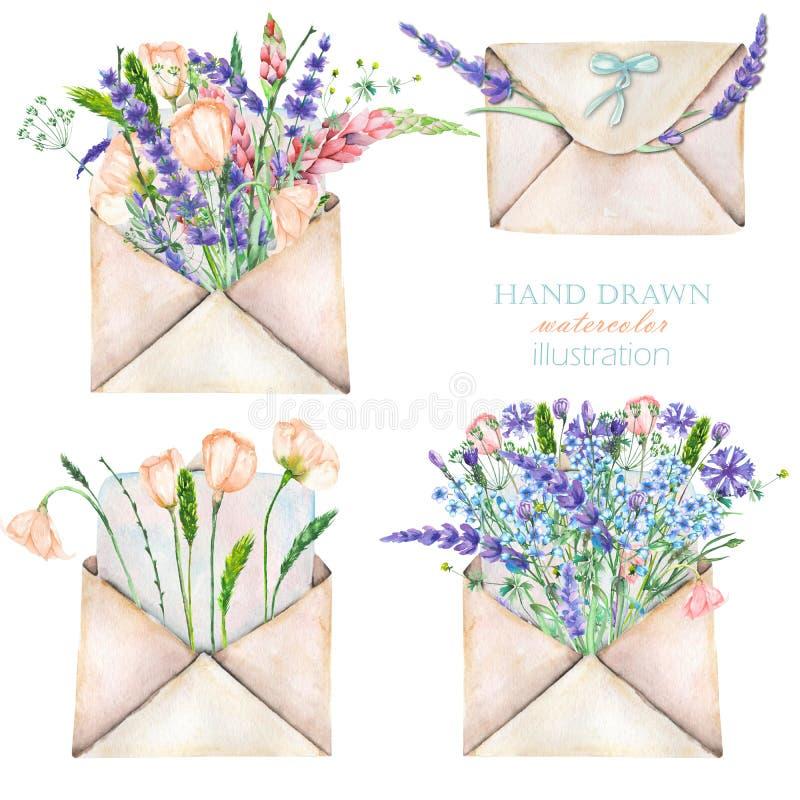 Ilustração com os envelopes e as flores do correio do vintage da aquarela ilustração do vetor