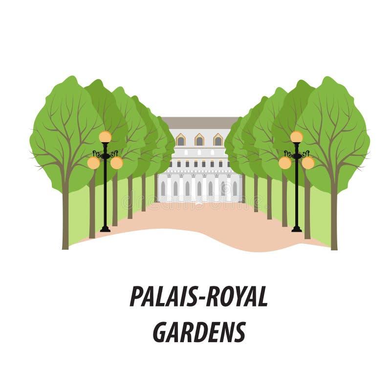 A ilustração com os jardins de Palais Royal de Paris ilustração do vetor