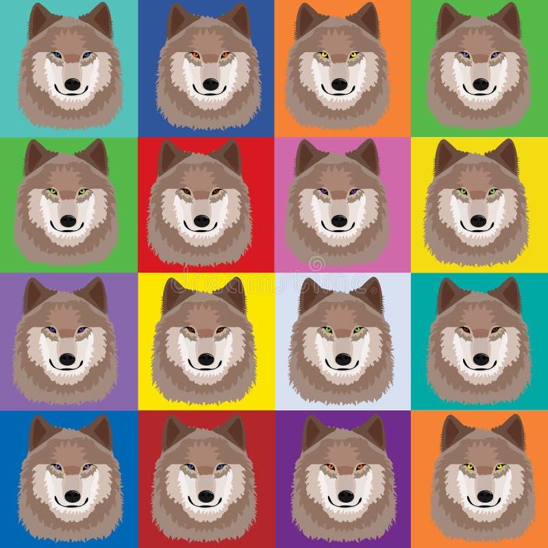 Ilustração com os lobos no estilo de Andy Warhol do pop art ilustração stock