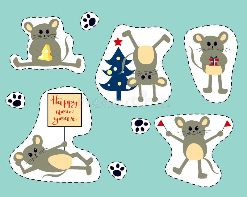 Ilustração com os ratos bonitos dos desenhos animados - símbolo do vetor do ano novo chinês 2020 ilustração do vetor