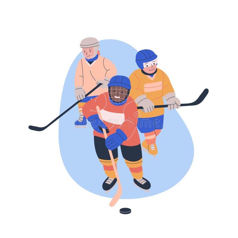 Ilustração com os três meninos que jogam o jogo de hóquei em gelo ilustração stock
