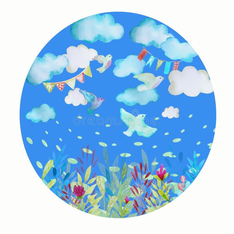 Ilustração com pássaros e nuvens ilustração stock