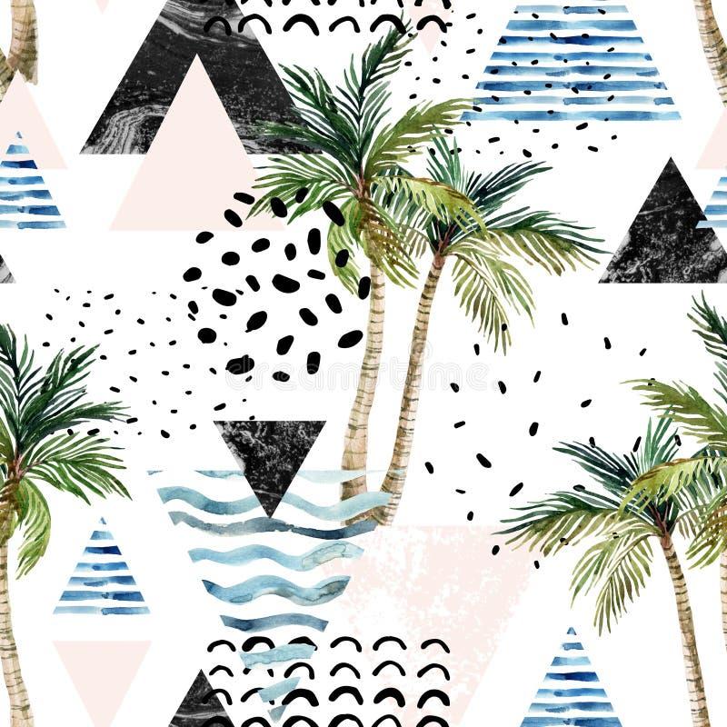 Ilustração com palmeira, garatuja da arte, mármore, texturas do grunge, formas geométricas ilustração royalty free
