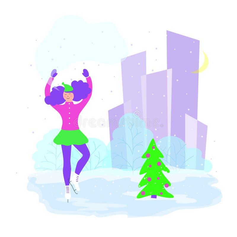 Ilustração com patinador artística em uma pista de gelo, menina que patina no parque da cidade, ilustração do vetor dos desenhos  ilustração stock