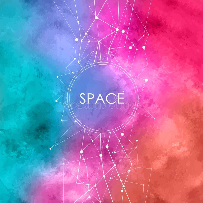 Ilustração com pontos de conexão, fundo da aquarela do espaço com constelação ilustração stock