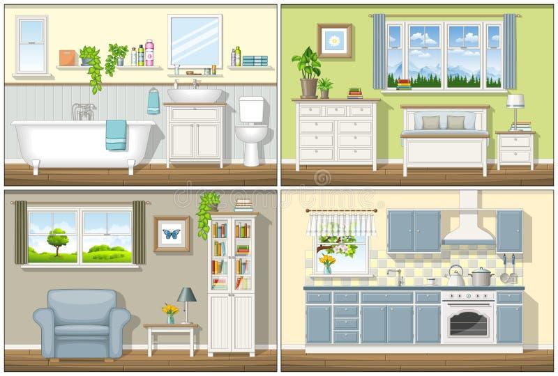 Ilustração com quatro interiores residenciais ilustração royalty free