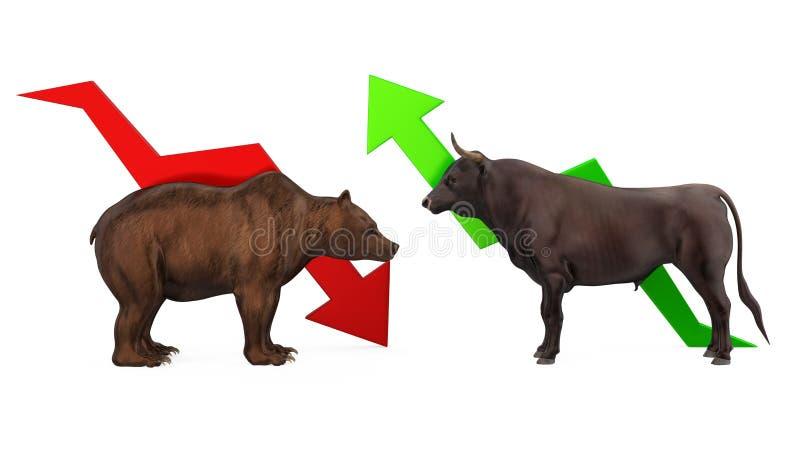 Ilustração com tendência para a alta e Bearish ilustração stock