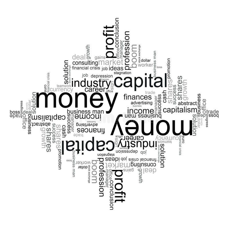 Ilustração com termos econômicos ilustração stock