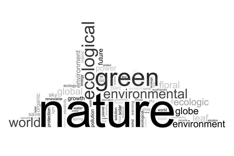 A ilustração com termos gosta do natur ou do ambiente ilustração do vetor