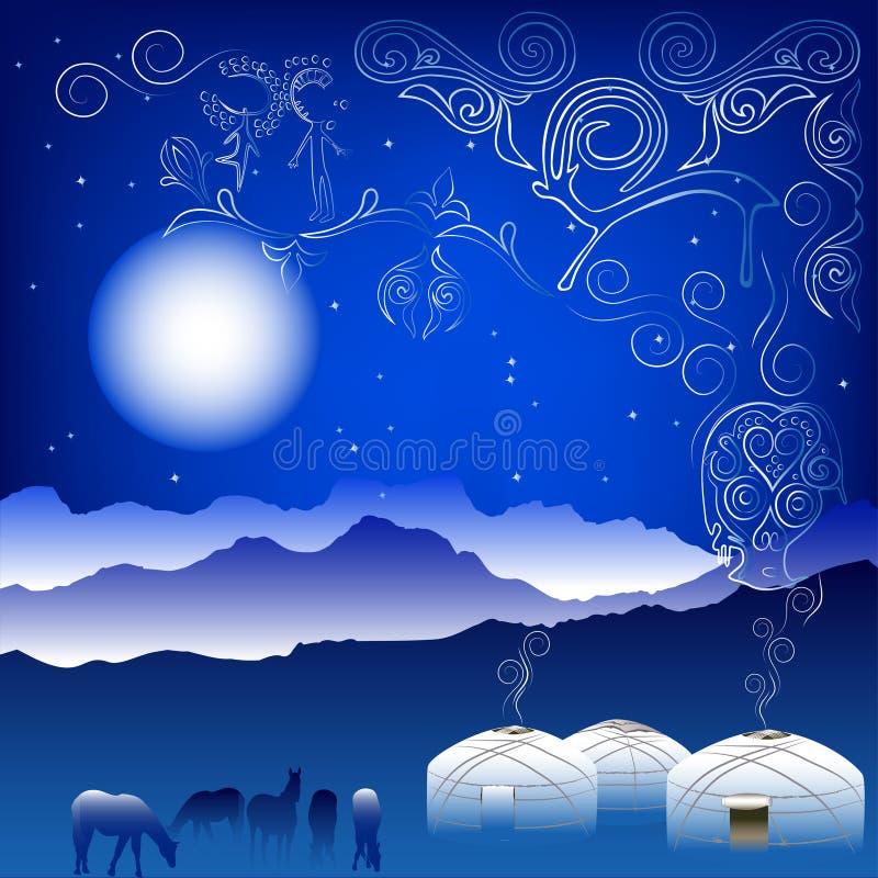 Ilustração com teste padrão e vista tradicionais do Cazaque imagem de stock royalty free
