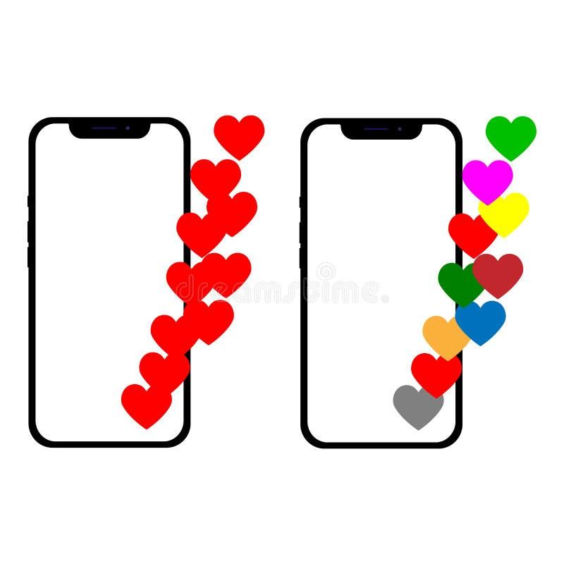 Ilustração com um coração, emoji do vetor uma mensagem na tela Conceito da rede social e do dispositivo m?vel Gráfico para ilustração royalty free