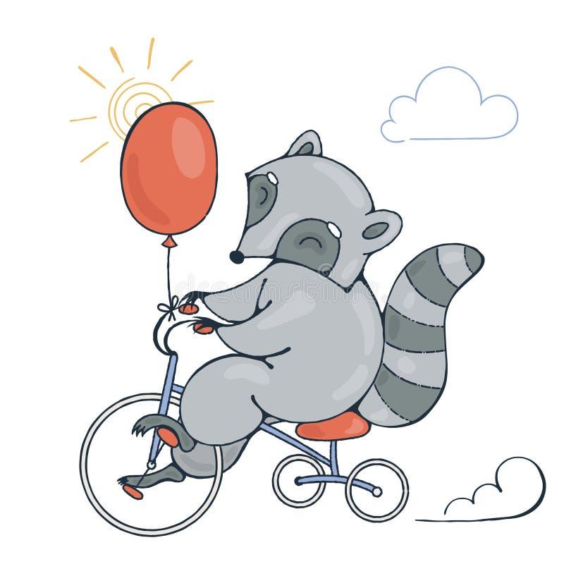 Ilustração com um racum alegre em uma bicicleta com balão ilustração royalty free
