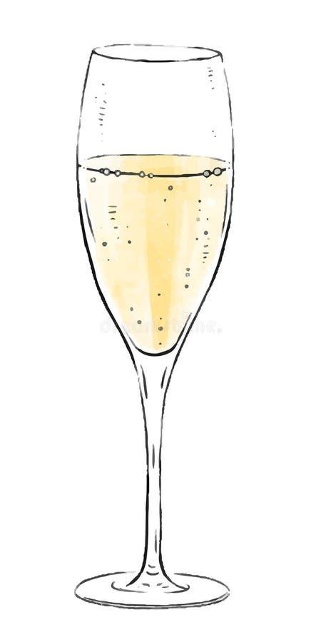 Ilustração com um vidro do vinho espumante isolado no fundo branco Coleção do vinho de Champagne Bebidas gourmet ilustração stock