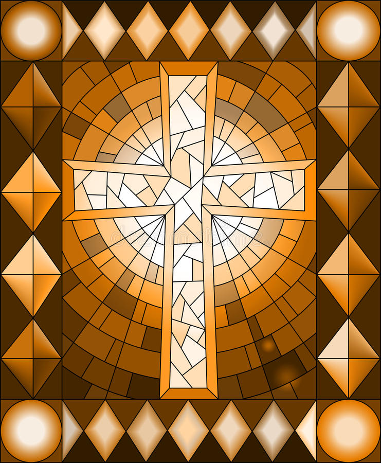 Ilustração com uma cruz cristã, quadro do vitral, tom marrom, Sepia ilustração royalty free