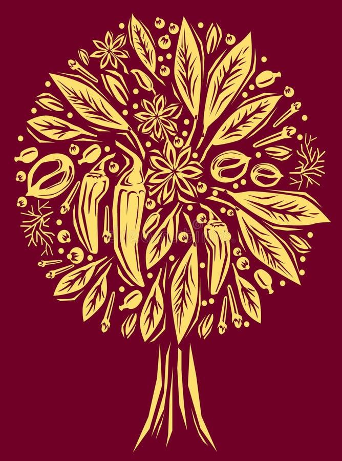 Ilustração com uma especiaria da forma da árvore ilustração royalty free