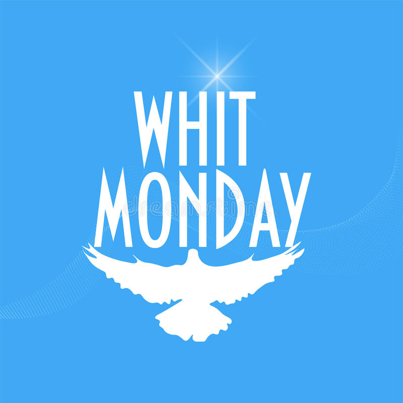 Ilustração com uma silhueta do pombo ou da pomba: Whit Monday ou domingo de Pentecostes segunda-feira igualmente conhecida como s fotografia de stock